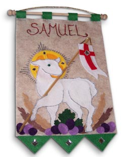 First Communion Banner Kit - 9 in. x 12 in. - <i>Lamb of God - Emerald Green</i>