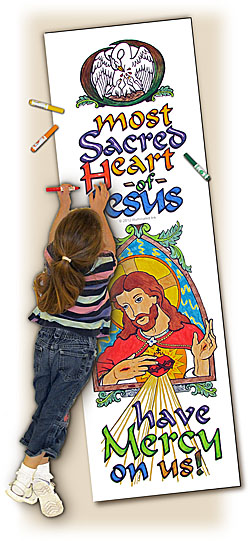 Catholic Coloring Posters - Deluxe - Sacred Heart