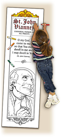 Catholic Coloring Posters - Deluxe - St. John Vianney