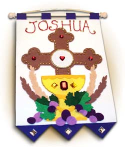 First Communion Banner Kit - 9 in. x 12 in. - <i>Cross of Redemption - Royal Blue</i>