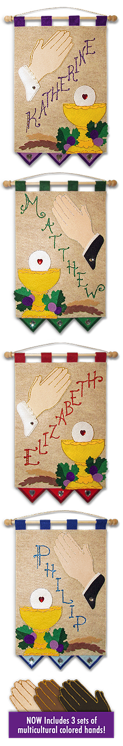First Communion Banner Kit - Class Pack - 9 in. x 12 in. - <i>Praying Hands</i>