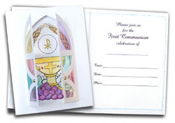 First Communion Card Kit Invitations - 5 pack